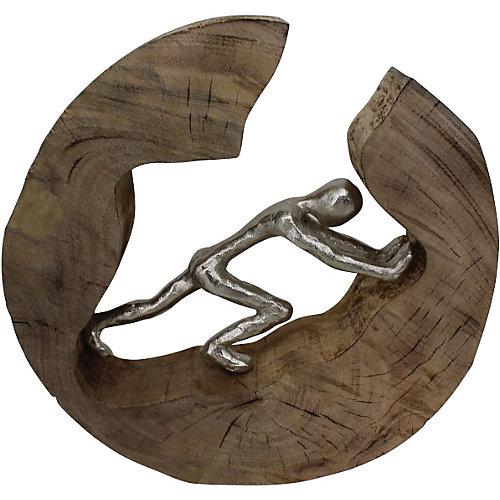 """Sculpture décorative """"Totus"""" 7 po H x 13 L en fini argenté et Brown"""