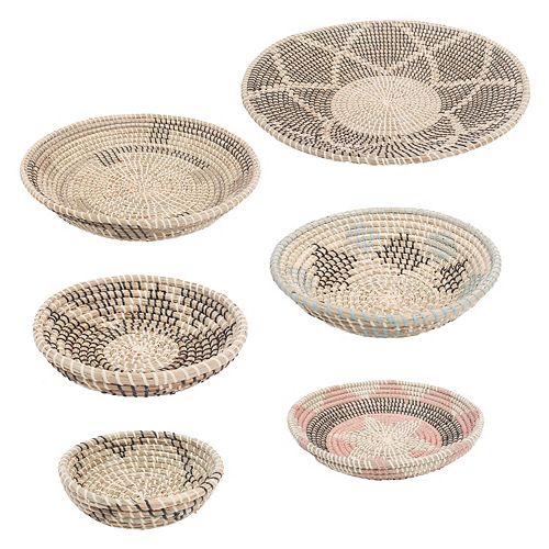 Elmina Seagrass Decorative Basket in Black, White, Beige, Turquoise and Peach, (Set of 7)