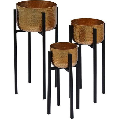 """Jardinière décorative """"Lebren"""" 10/8/6 po H x 10/8/6 L en laiton et noir (ensemble de 2-pièces)"""