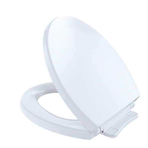 SoftCloseNon Slamming, Slow Close Round Toilet Seat and Lid,Cotton White