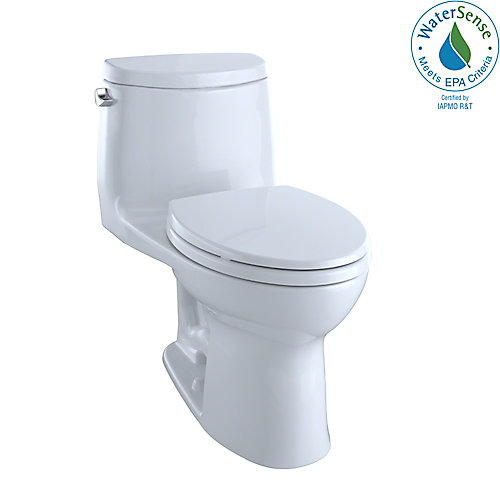UltraMax II 1-Piece Elongated 1.28 GPF Universal Height Toilet with CeFiONtect, Cotton White
