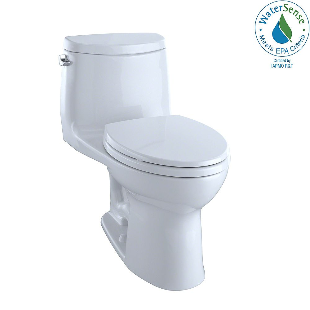 TOTO UltraMax II 1-Piece Elongated 1.28 GPF Universal Height Toilet with CeFiONtect in Cotton White