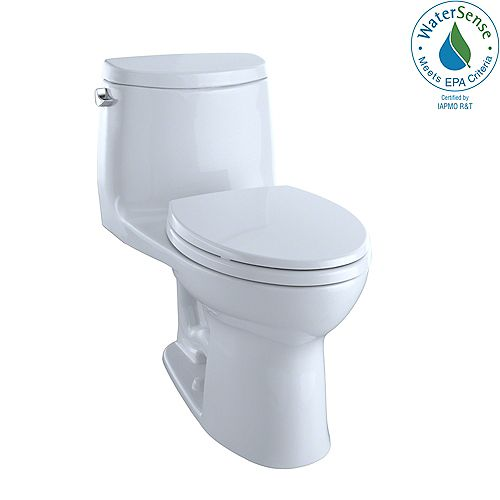 UltraMax II 1-Piece Elongated 1.28 GPF Universal Height Toilet with CeFiONtect in Cotton White
