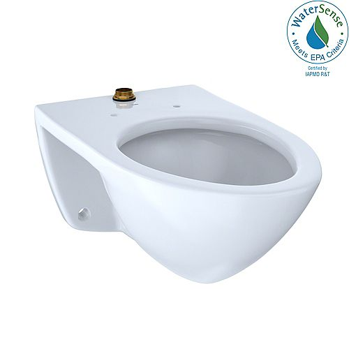 Elongated 1.0 GPF Wall-Mounted Flushometer Toilet Bowl with Top Spud, Cotton White