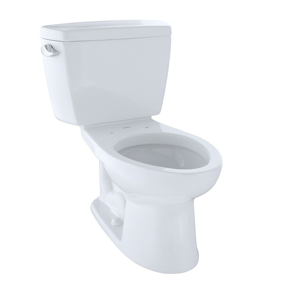 Toto Drake 2 Piece Elongated 1 6 Gpf Toilet With Cefiontect Cotton White The Home Depot Canada