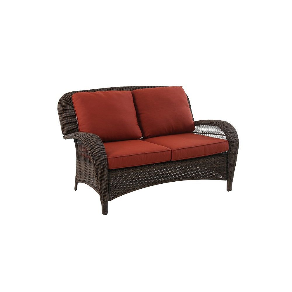 Hampton Bay Beacon Park Steel Woven Loveseat with Orange Cushions