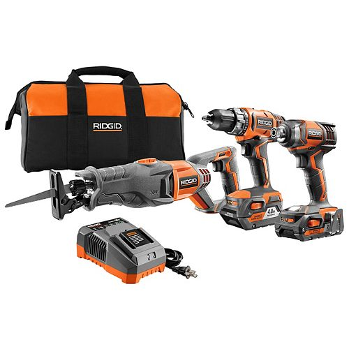 18V Lithium-Ion Cordless Combo Kit (3-Tool) w/ Drill, Impact Driver, Reciprocating Saw, (2) Batteries, Charger & Bag