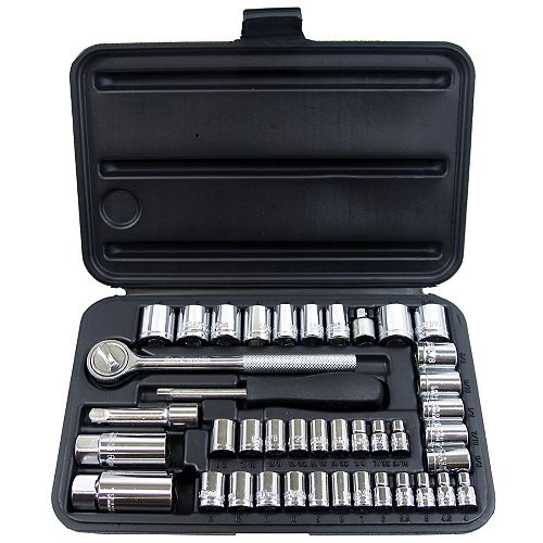 Fuller 41-Piece Dual SAE and Metric Socket Set with 1/4-Inch and 3/8-Inch Drive
