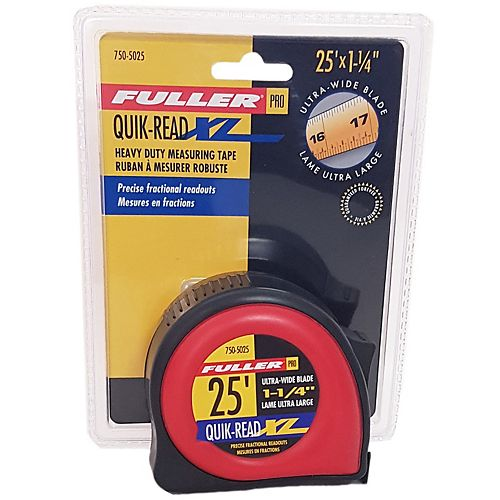 Fuller 25-Foot Pro Series Measuring Tape with Ultra-Wide 1-1/4-Inch Blade