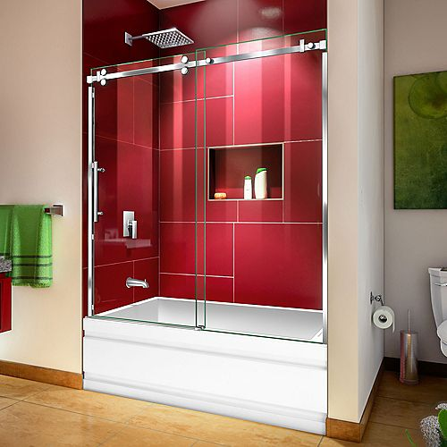 DreamLine Enigma Sky 56-60 inch W x 62 inch H Frameless Sliding Tub Door in Polished Stainless Steel