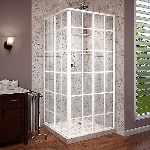 DreamLine French Corner 34 1/2 inch D x 34 1/2 inch W x 72 inch H Framed Sliding Shower Enclosure in White
