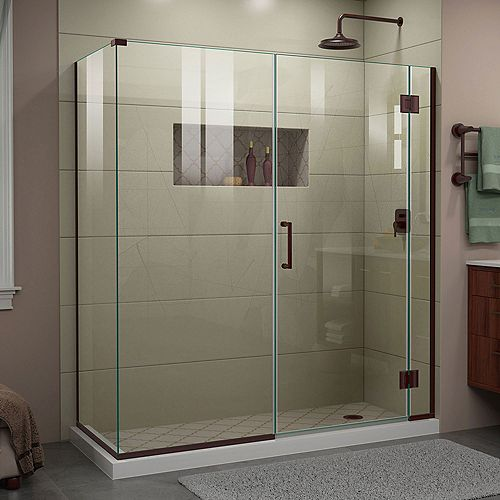 DreamLine Unidoor-X 64 inch W x 34 3/8 inch D x 72 inch H Shower Enclosure in Oil Rubbed Bronze