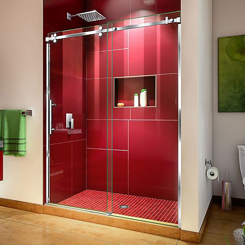 DreamLine Enigma Sky 56-60 inch W x 76 inch H Sliding Shower Door in Polished Stainless Steel