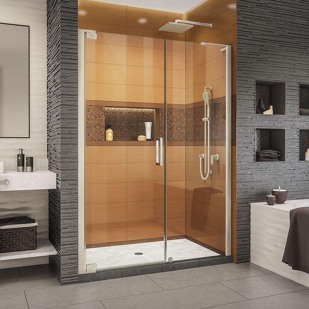 DreamLine Elegance-LS 52 1/2 - 54 1/2 inch W x 72 inch H Frameless Pivot Shower Door in Brushed Nickel