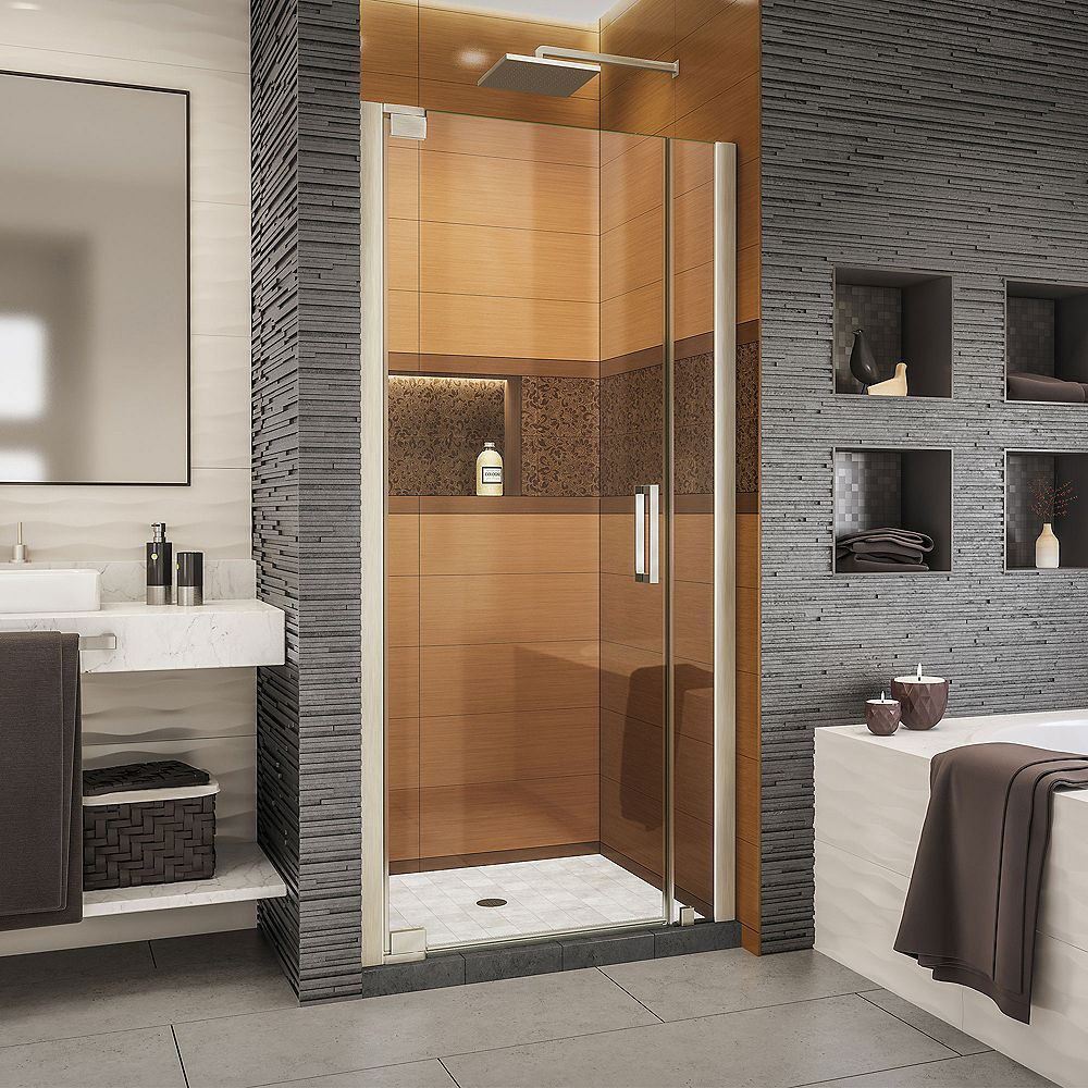 DreamLine Elegance-LS 34 1/2 - 36 1/2 inch W x 72 inch H Frameless Pivot Shower Door in Brushed Nickel