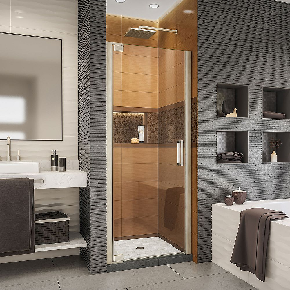 DreamLine Elegance-LS 27 - 29 inch W x 72 inch H Frameless Pivot Shower Door in Brushed Nickel