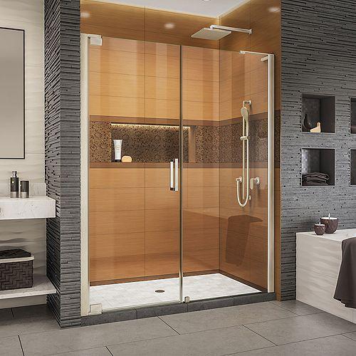 DreamLine Elegance-LS 56 3/4 - 58 3/4 inch W x 72 inch H Frameless Pivot Shower Door in Brushed Nickel