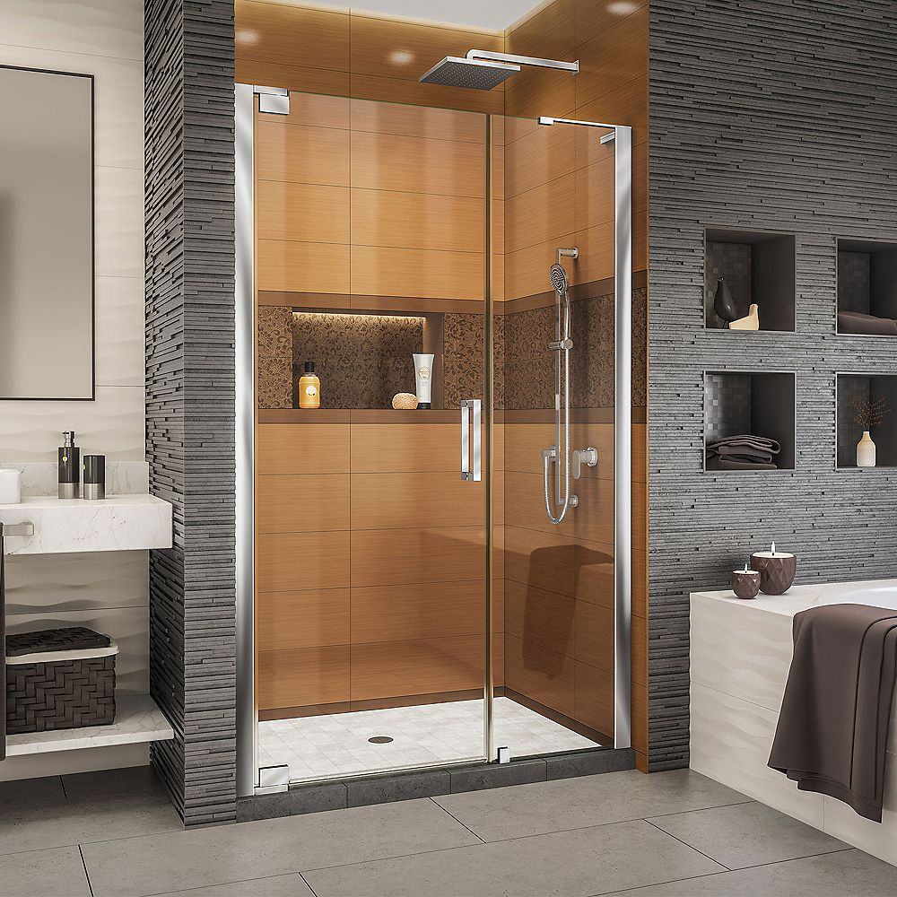 DreamLine Elegance-LS 46 1/2 - 48 1/2 inch W x 72 inch H Frameless Pivot Shower Door in Chrome