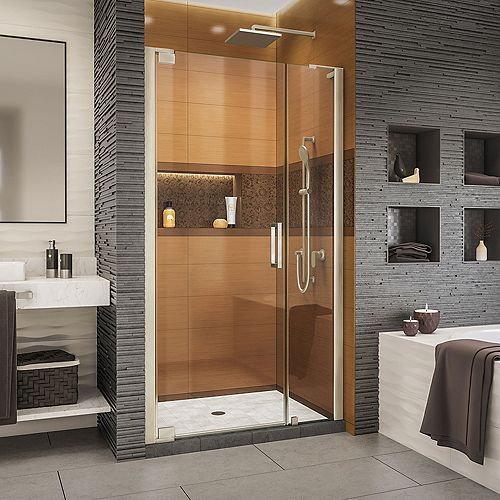 DreamLine Elegance-LS 44 - 46 inch W x 72 inch H Frameless Pivot Shower Door in Brushed Nickel