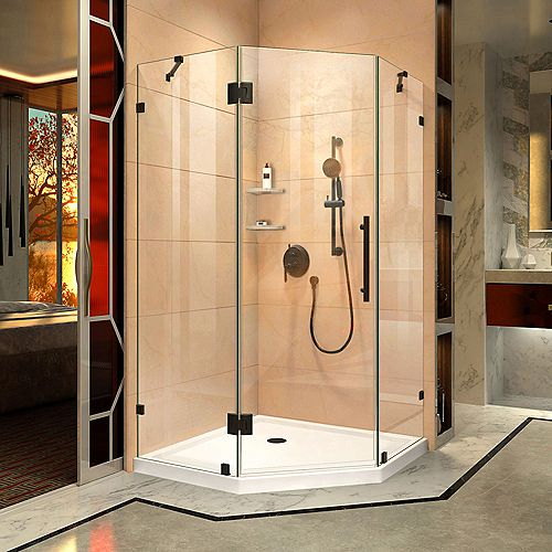 DreamLine Prism Lux 40 3/8 inch D x 40 3/8 inch W x 72 inch H Fully Shower Enclosure in Satin Black