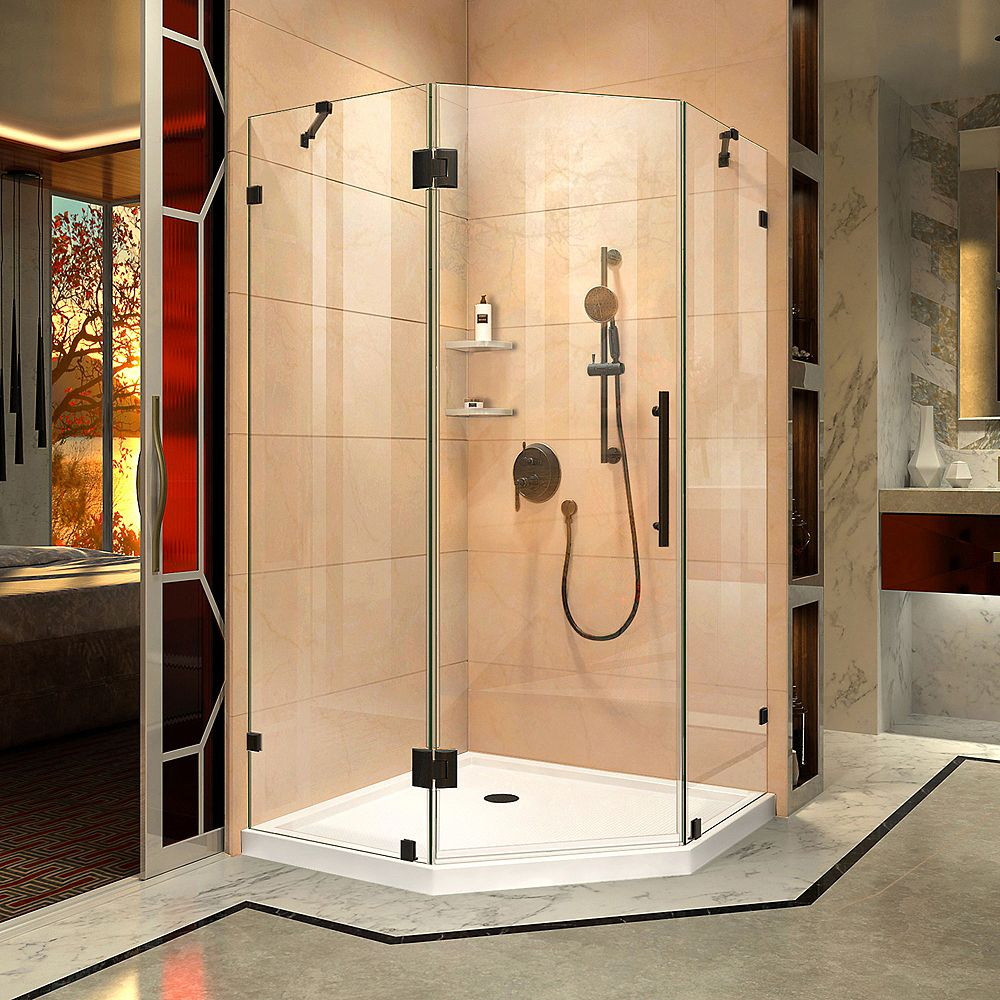 DreamLine Prism Lux 36 5/16 inch D x 36 5/16 inch W x 72 inch H Fully Shower Enclosure in Satin Black