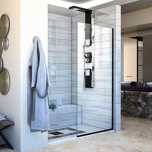 Linea Single Panel Shower Screen 30 inch W x 72 inch H, Open Entry Design in Satin Black