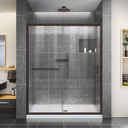 Infinity-Z 56-60 inch W x 72 inch H Semi-Frameless Sliding Shower Door in in Oil Rubbed Bronze
