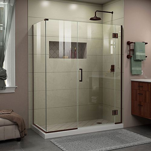 DreamLine Unidoor-X 57 1/2 inch W x 30 3/8 inch D x 72 inch H Shower Enclosure in Oil Rubbed Bronze