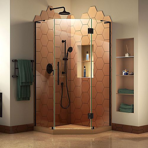 Prism Plus 40 inch D x 40 inch W x 72 inch H Frameless Hinged Shower Enclosure in Satin Black