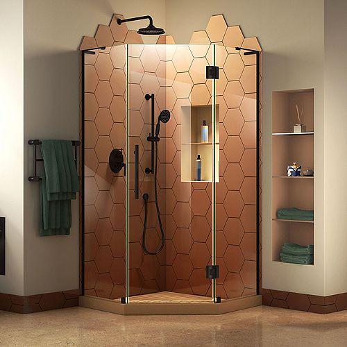 DreamLine Prism Plus 36 inch D x 36 inch W x 72 inch H Frameless Hinged Shower Enclosure in Satin Black
