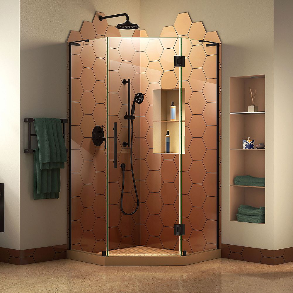 DreamLine Prism Plus 34 inch D x 34 inch W x 72 inch H Frameless Hinged Shower Enclosure in Satin Black