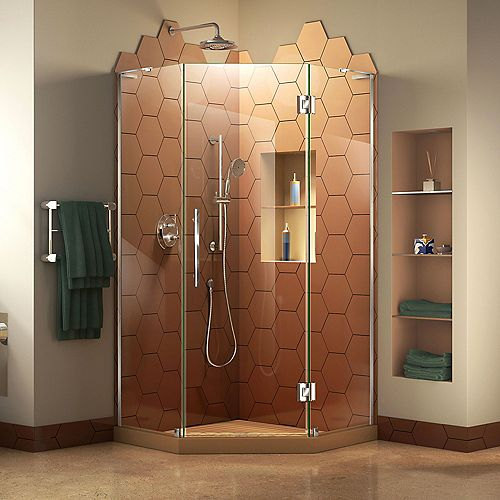DreamLine Prism Plus 34 inch D x 34 inch W x 72 inch H Frameless Hinged Shower Enclosure in Chrome