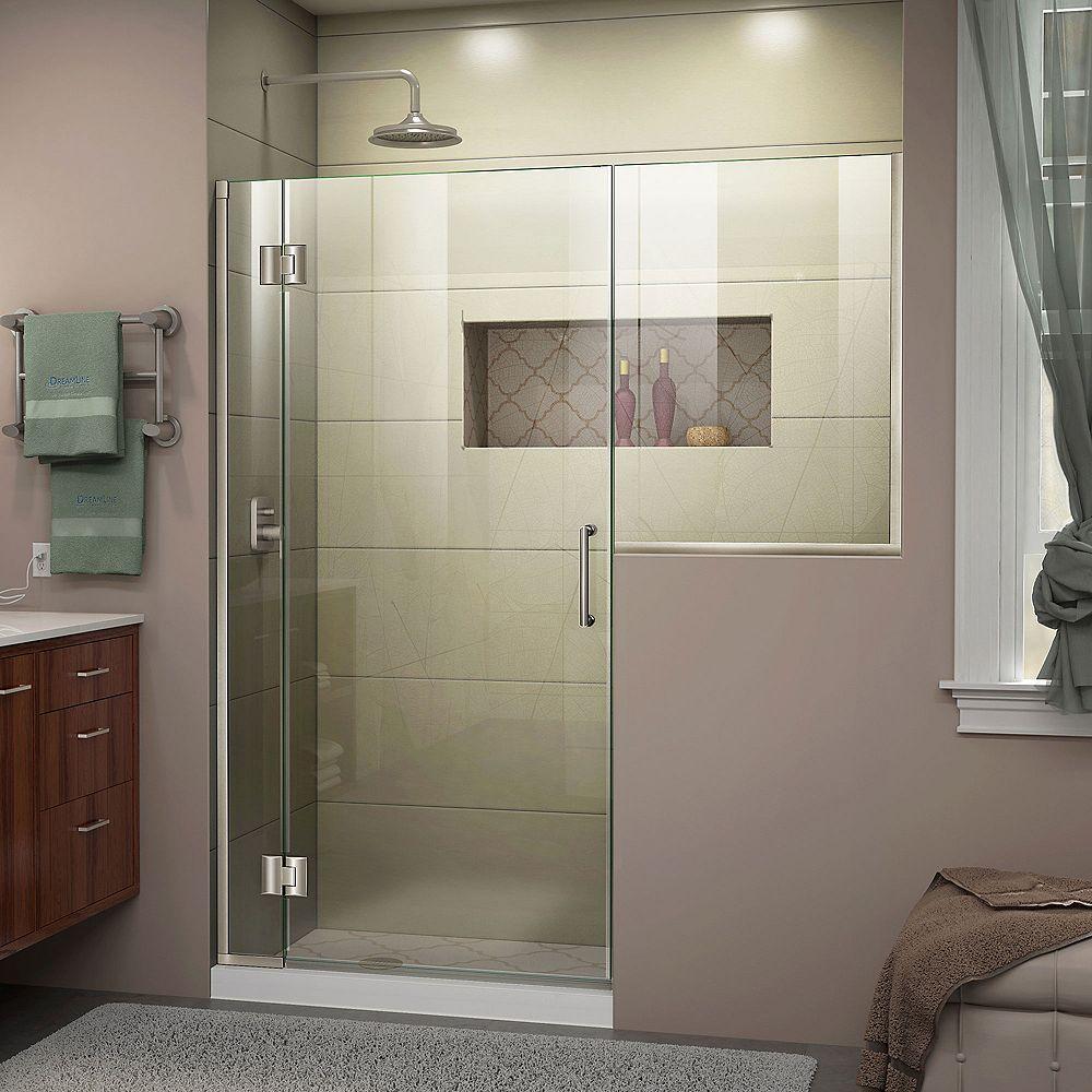 DreamLine Unidoor-X 61-61 1/2 inch W x 72 inch Frameless Shower Door in Brushed Nickel