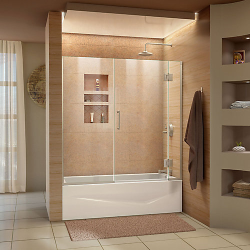 Unidoor-X 58-58 1/2 inch W x 58 inch H Frameless Hinged Tub Door in Brushed Nickel
