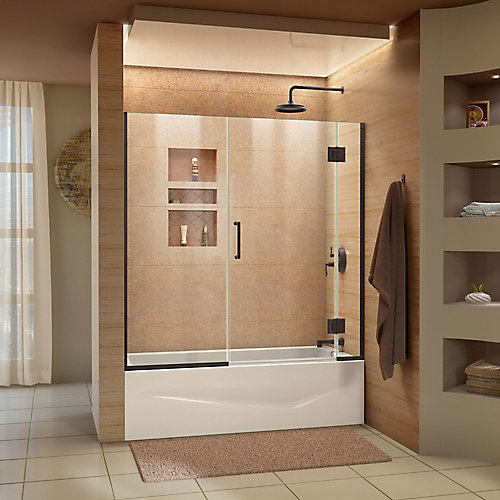 Unidoor-X 58-58 1/2 inch W x 58 inch H Frameless Hinged Tub Door in Oil Rubbed Bronze