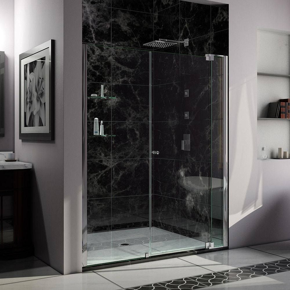 Dreamline Allure 61 62 Inch W X 73 Inch H Frameless Pivot Shower Door In Chrome The Home Depot Canada