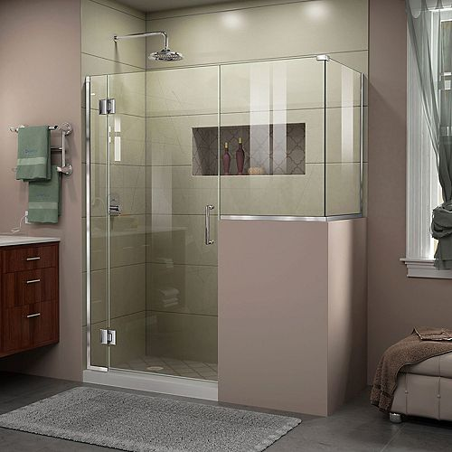 DreamLine Unidoor-X 60 inch W x 36 3/8 inch D x 72 inch H Frameless Hinged Shower Enclosure in Chrome Finish