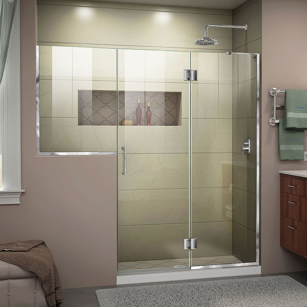 DreamLine Unidoor-X 72-72 1/2 inch W x 72 inch H Frameless Shower Door in Chrome Finish