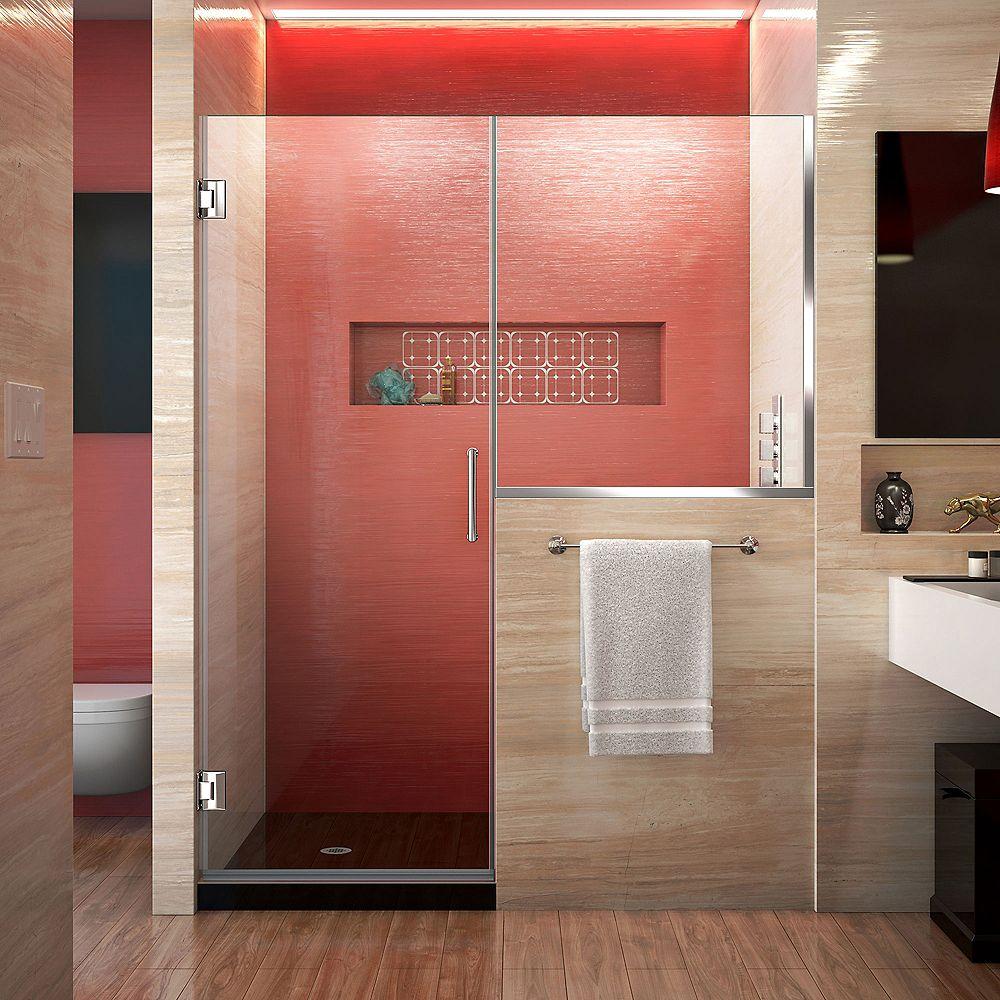 DreamLine Unidoor Plus 60-60 1/2 inch W x 72 inch  Door with 34 inch Half Panel, Clear Glass, Chrome