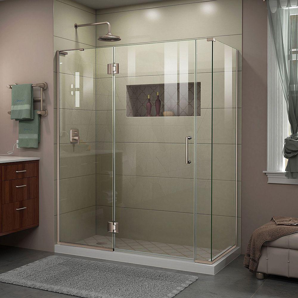 DreamLine Unidoor-X 59 1/2 inch W x 34 3/8 inch D x 72 inch H Shower Enclosure in Brushed Nickel Finish
