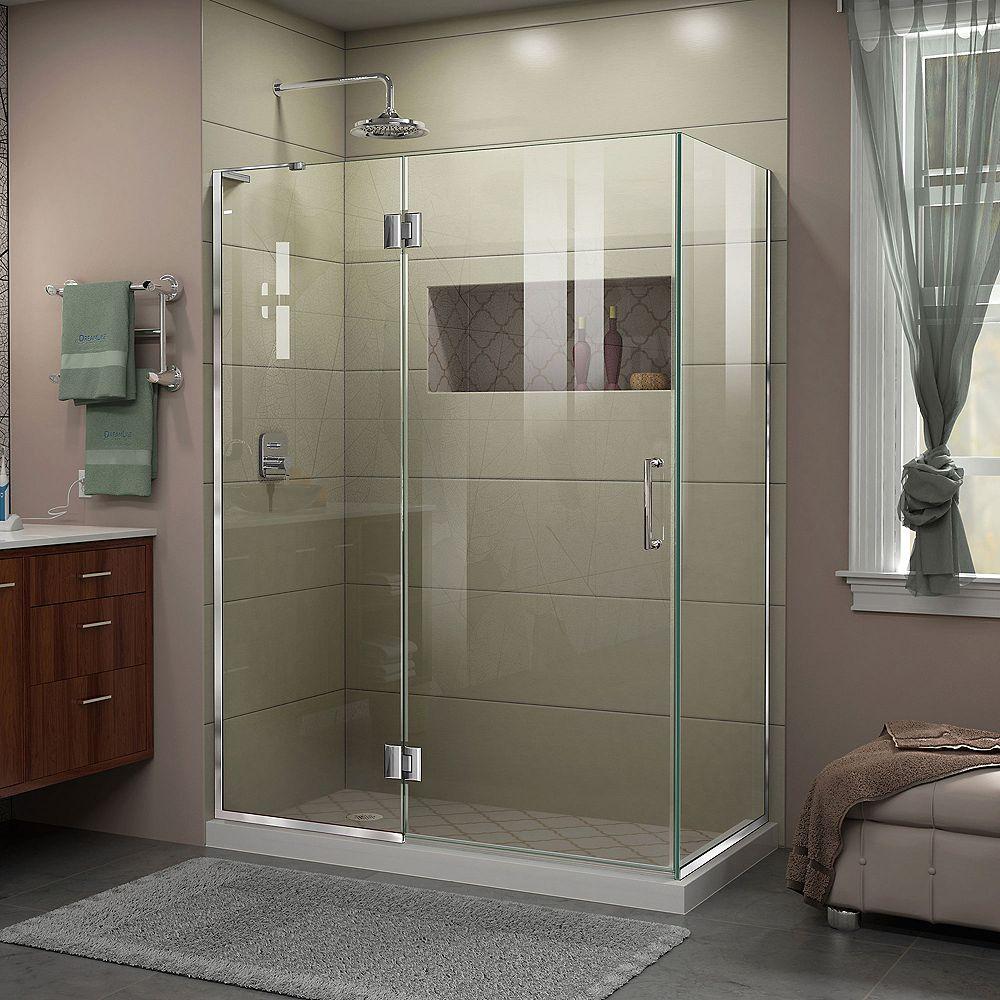 DreamLine Unidoor-X 47 3/8 inch W x 30 inch D x 72 inch H Shower Enclosure in Chrome