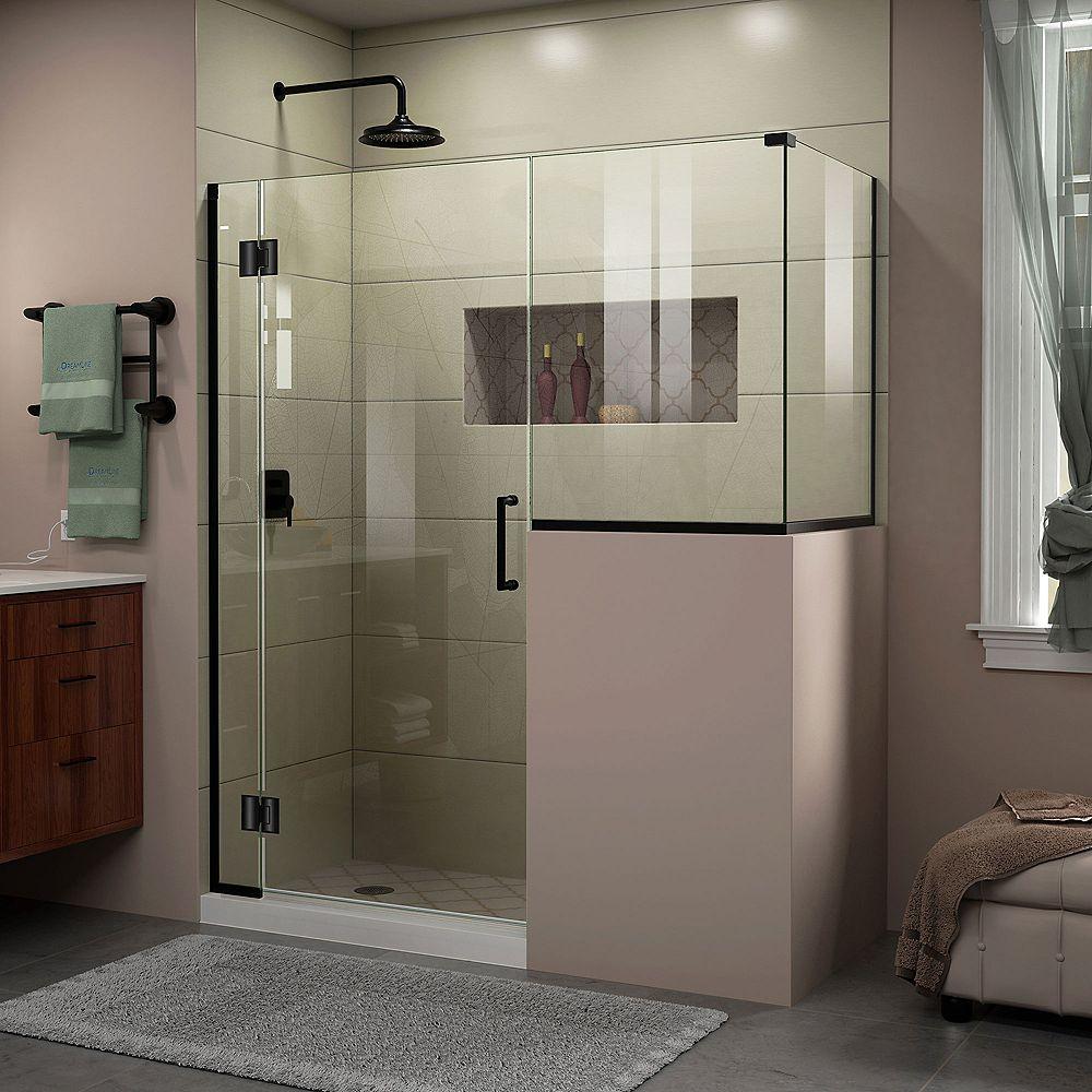 DreamLine Unidoor-X 58 inch W x 30 3/8 inch D x 72 inch H Frameless Shower Enclosure in Satin Black