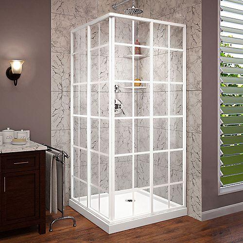 DreamLine French Corner 36 inch D x 36 inch W Shower Enclosure in White and Corner Drain White Base Kit