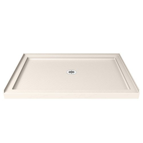 DreamLine SlimLine 32 inch D x 42 inch W x 2 3/4 inch H Center Drain Single Threshold Shower Base in Biscuit