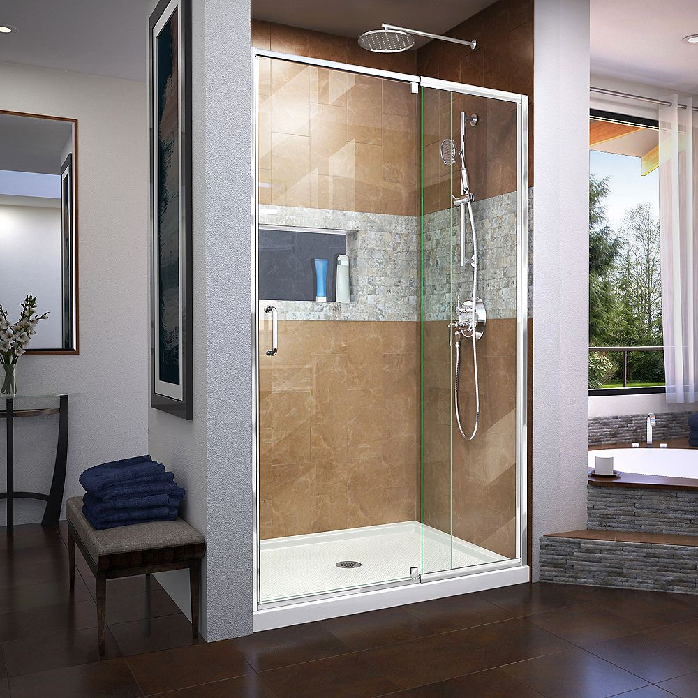 DreamLine Flex 36 inch D x 48 inch W x 74 3/4 inch H Shower Door in Chrome with Center Drain White Base Kit