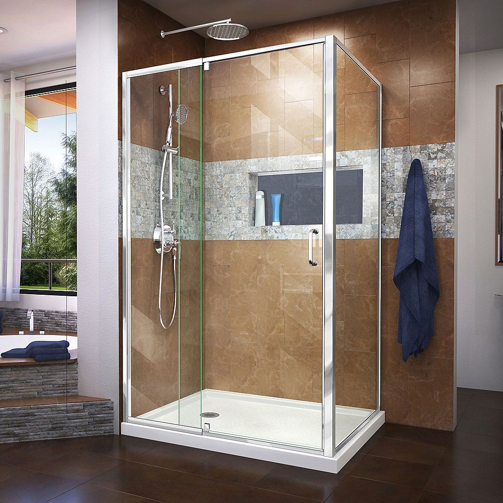 DreamLine Flex 36 inch D x 48 inch W x 74 3/4 inch H Shower Enclosure in Chrome with Left Drain White Base Kit
