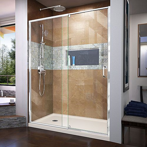 DreamLine Flex 36 inch D x 60 inch W x 74 3/4 inch H Shower Door in Chrome with Left Drain Biscuit Base Kit