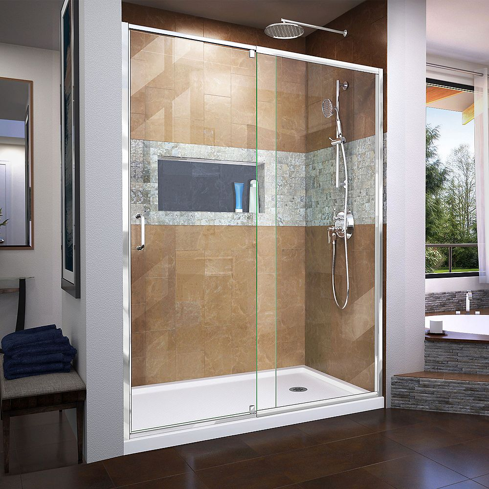DreamLine Flex 32 inch D x 60 inch W x 74 3/4 inch H Shower Door in Chrome with Right Drain White Base Kit