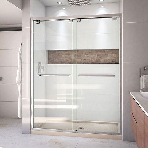 DreamLine Encore 32 inch D x 60 inch W Shower Door in Brushed Nickel and Center Drain Biscuit Base Kit