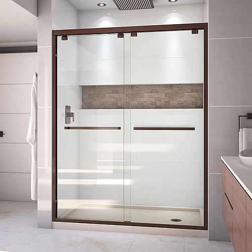 DreamLine Encore 30 inch D x 60 inch W Shower Door in Oil Rubbed Bronze and Right Drain Biscuit Base Kit